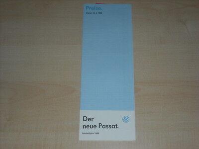 65708) Vw Passat - Preise & Extras - Prospekt 04/1988