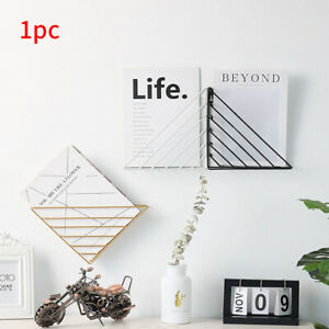 Book Shelf Home Iron Structure Wall Mounted Storage Decorative Triangle Simple