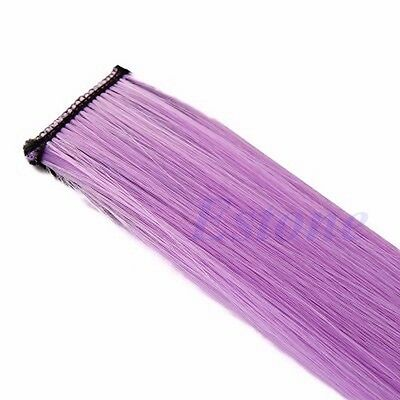 Women Multi Color Long Straight Synthetic Clip in on Hair Extensions Piece NEW
