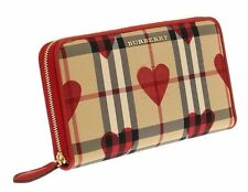 NEW BURBERRY ELMORE HEART HORSEFERRY CHECK RED ZIP AROUND LARGE WALLET CLUTCH