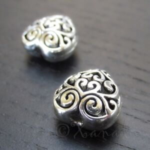 Puff-Heart-13mm-Antiqued-Silver-Plated-Filigree-Beads-B4752-2-5-Or-10PCs