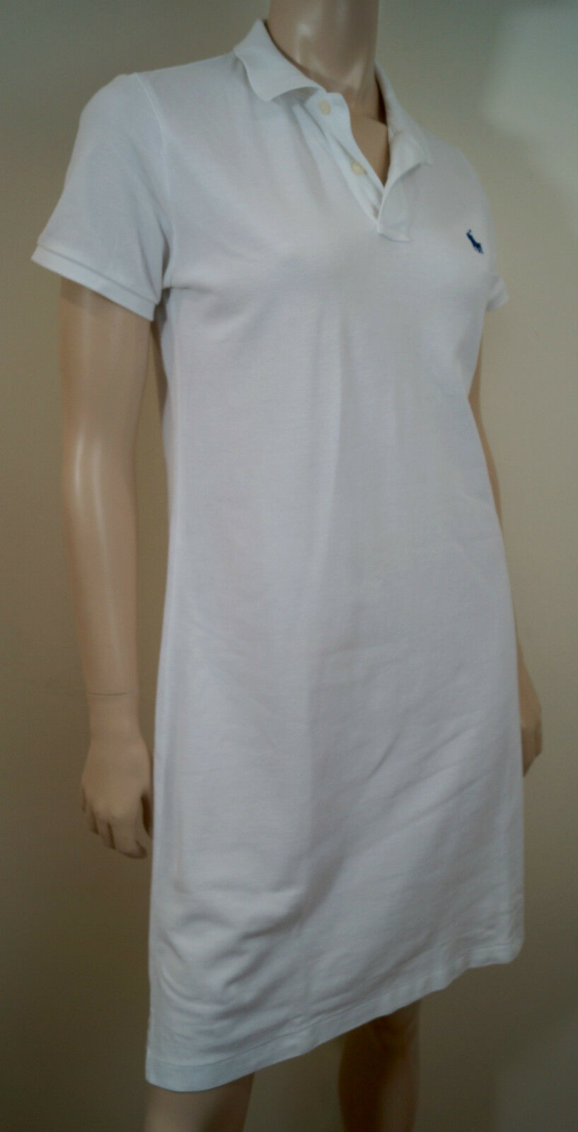 RALPH LAUREN bluee Label White 100% Cotton Mesh Branded Collared Polo Dress Sz M