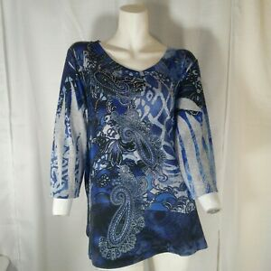 Delirious-Los-Angeles-Womens-Blue-and-Gray-Gem-Embellished-Paisley-Top-1X