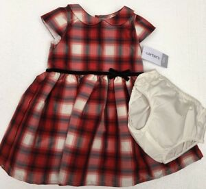 2a55e89544c6 CARTERS Girls Holiday Dress Size 12 Month Red Black White Plaid ...