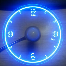 Mini Flexibel Tragbar USB Ventilator Fan Lüfter LED Uhr für PC Notebook Tablet