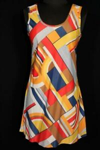 VINTAGE-FRENCH-1960-039-S-STRETCHY-COLORFUL-POLY-MINI-DRESS-SIZE-4-6