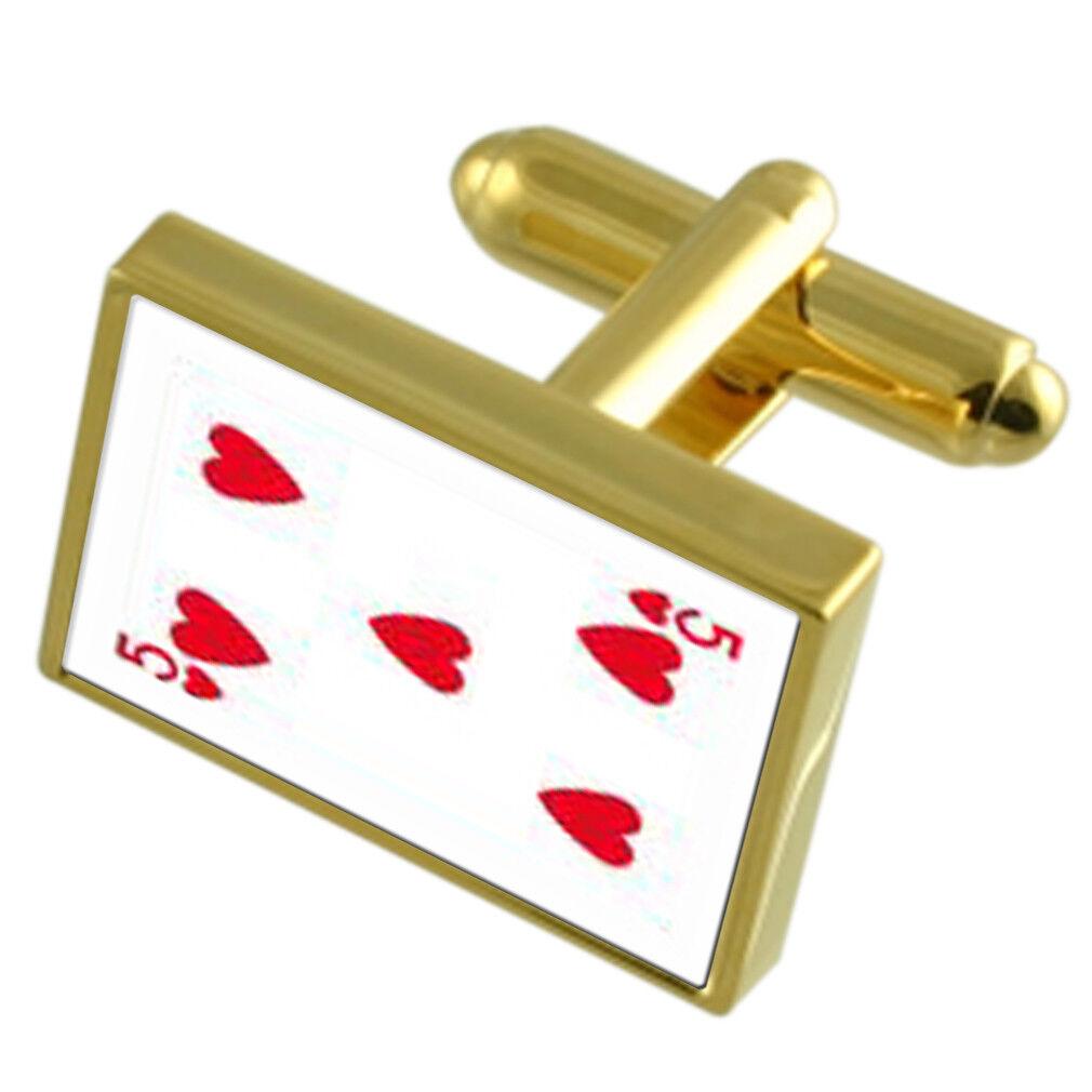 Cuore Carta Carta Carta da Gioco Number 5 Gole-Tone Gemelli Fermacravatta Cofanetto Inciso 68f359