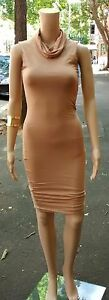 ALLY-8-Sexy-Camel-Brown-Turtleneck-Sleeveless-Stretchy-Bodycon-Wiggle-Dress