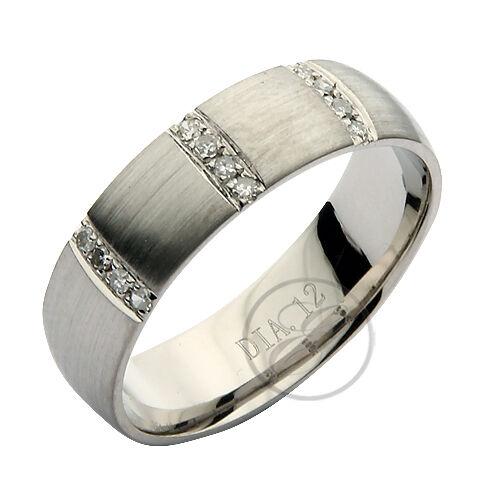 6mm Palladium 950 Three Row 12 Point Diamond Court Wedding Ring Band