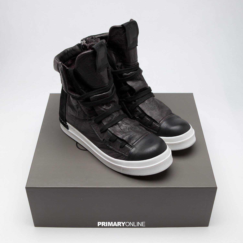 NIB Men CA By Cinzia Araia New Skin Lace Black Luxury Sneakers Italy Handmade