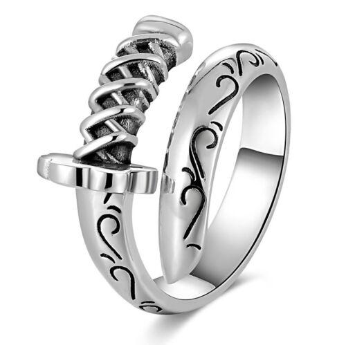Mens 925 Sterling Silver Ring Signet Tallado espada Katana Sable Cuchillo biker goth