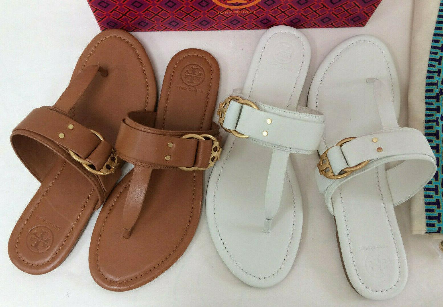 New Tory Burch Marsden Leather Flat Thong Sandal Flip Flop Brown 9M White 11M