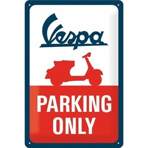 Vespa Scooter Parking Only Nostalgia Tin Sign 30 CM New Shield