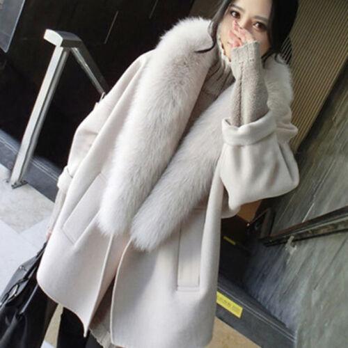 da Capispalla in Coccon volpe pelliccia Solid Cappotto Collo in lana Chic Allentato lungo Medio di donna OExTqxd