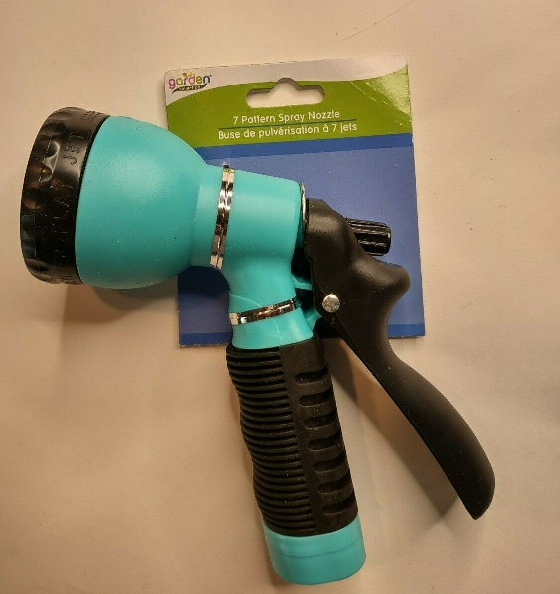 Garden Hose Teal Blue and Black Hard Plastic 7 Spray Nozzle Pattern Options