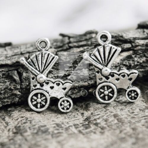 50pcs Tibetan Silver Charm Spacer Pendant Jewelry Findings Baby Carriage 20x14x2