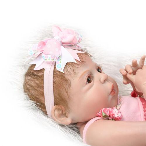 "Cute Toddler Reborn Doll Girl Silicone Vinyl Full Body 23/"" Lifelike Newborn Bebe"