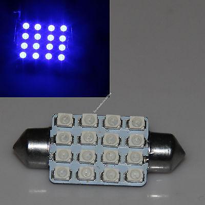 Blue Festoon Bulb 39mm 16 SMD 1210 LED Light Car Panel Reading License Lamp 12V