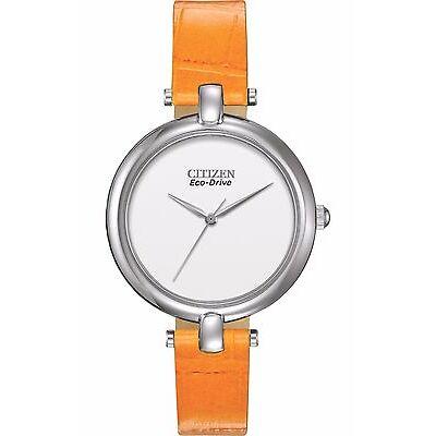 Citizen Eco-Drive Women's EM0250-01A Silhouette Orange Leather Strap Watch