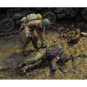 1-35-Resin-Figure-Model-Kit-US-Army-and-German-Corps-2-Figures-Unpainted
