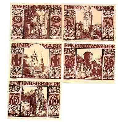 Banknotes 1921 Germany PADERBORN  set of 25 50 75 100 and 200  Phennig Notgeld