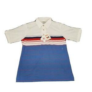King-Louie-Bowling-Shirt-Polo-Red-White-Blue-Striped-Size-Medium-NOS-VTG-70-039-s