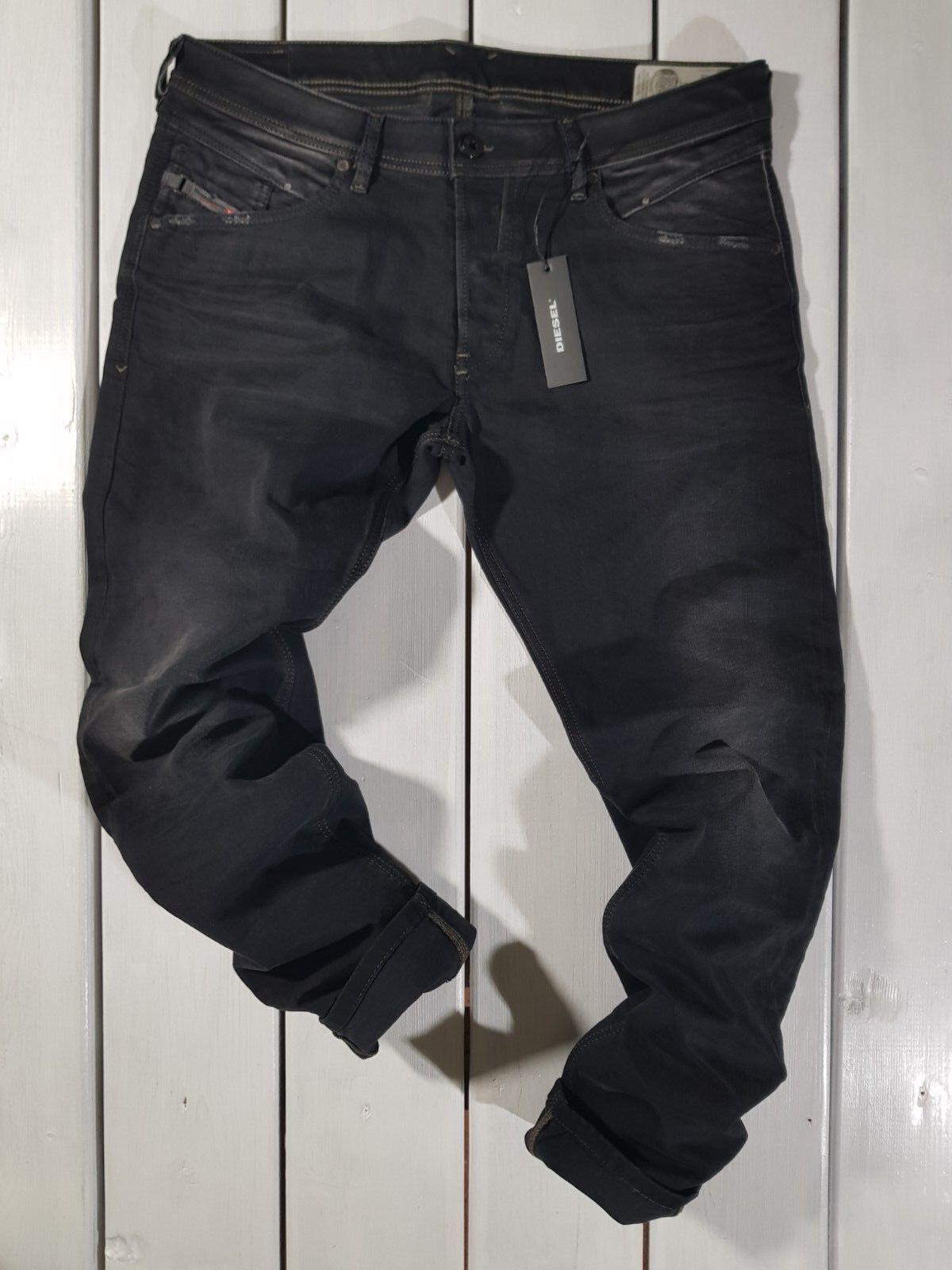 Neu Diesel HERREN Jeans Belther 0666q 0666q 0666q Normale Passform Konisch Schwarz 53932a