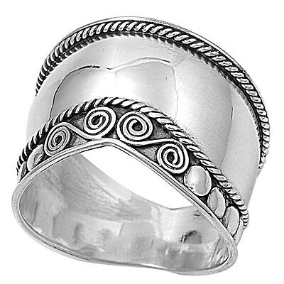 .925 Sterling Silver Wide Bali Tribal Band Ring RP420