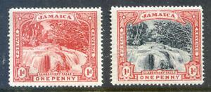 Jamaica-1900-1901-Llandovery-Falls-2-x-1d-lightly-hinged-2018-10-23-02