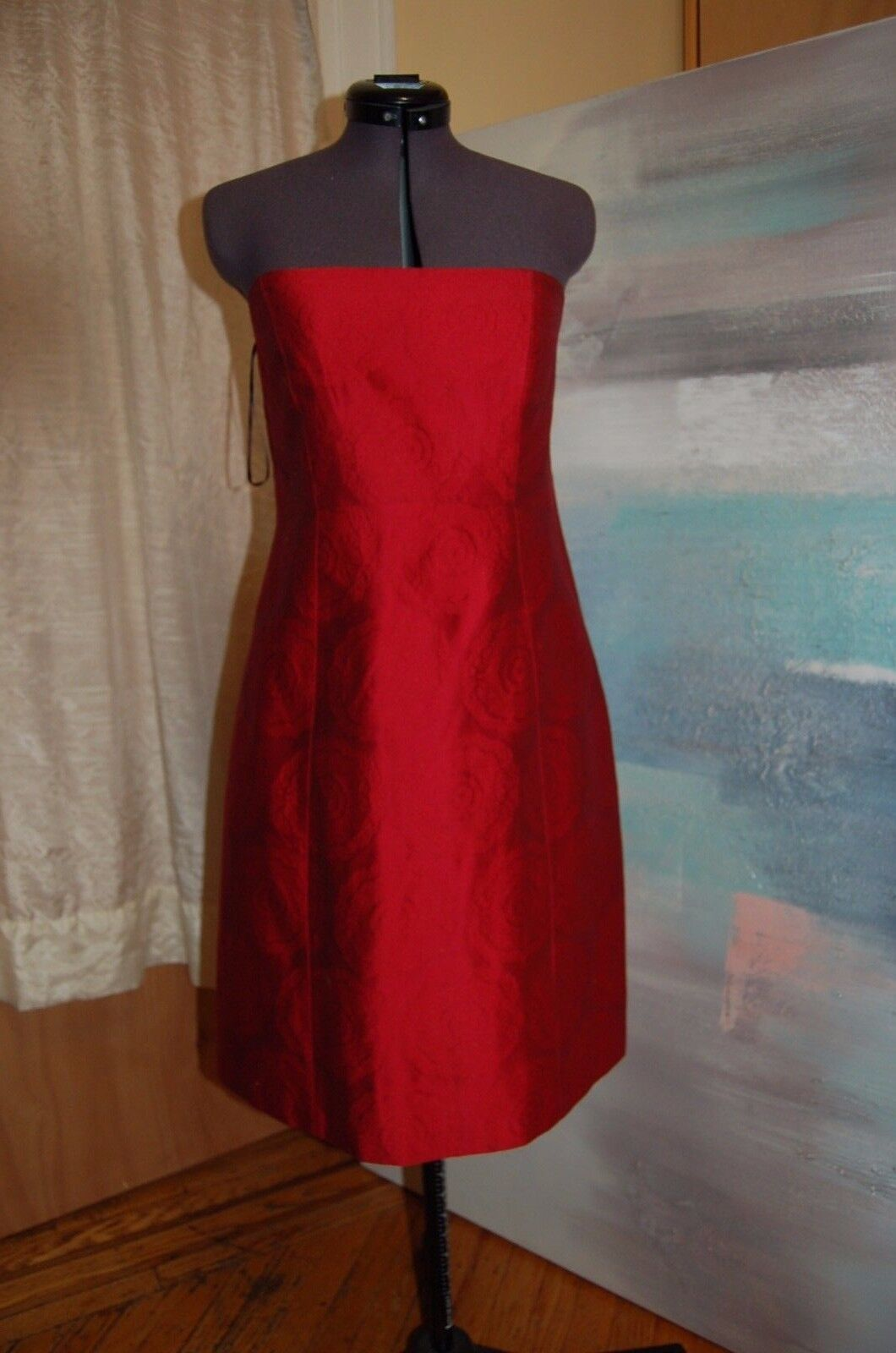 NWT Theory  Orsolya  rot KOI Strapless Dress Größe 12 Made in USA