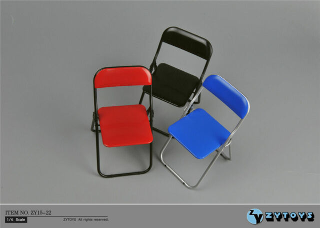"""ZY Toys 1:6 Scale Black Folding Chair  F 12/"""" Male Female Action Figure ZY15-22C"""