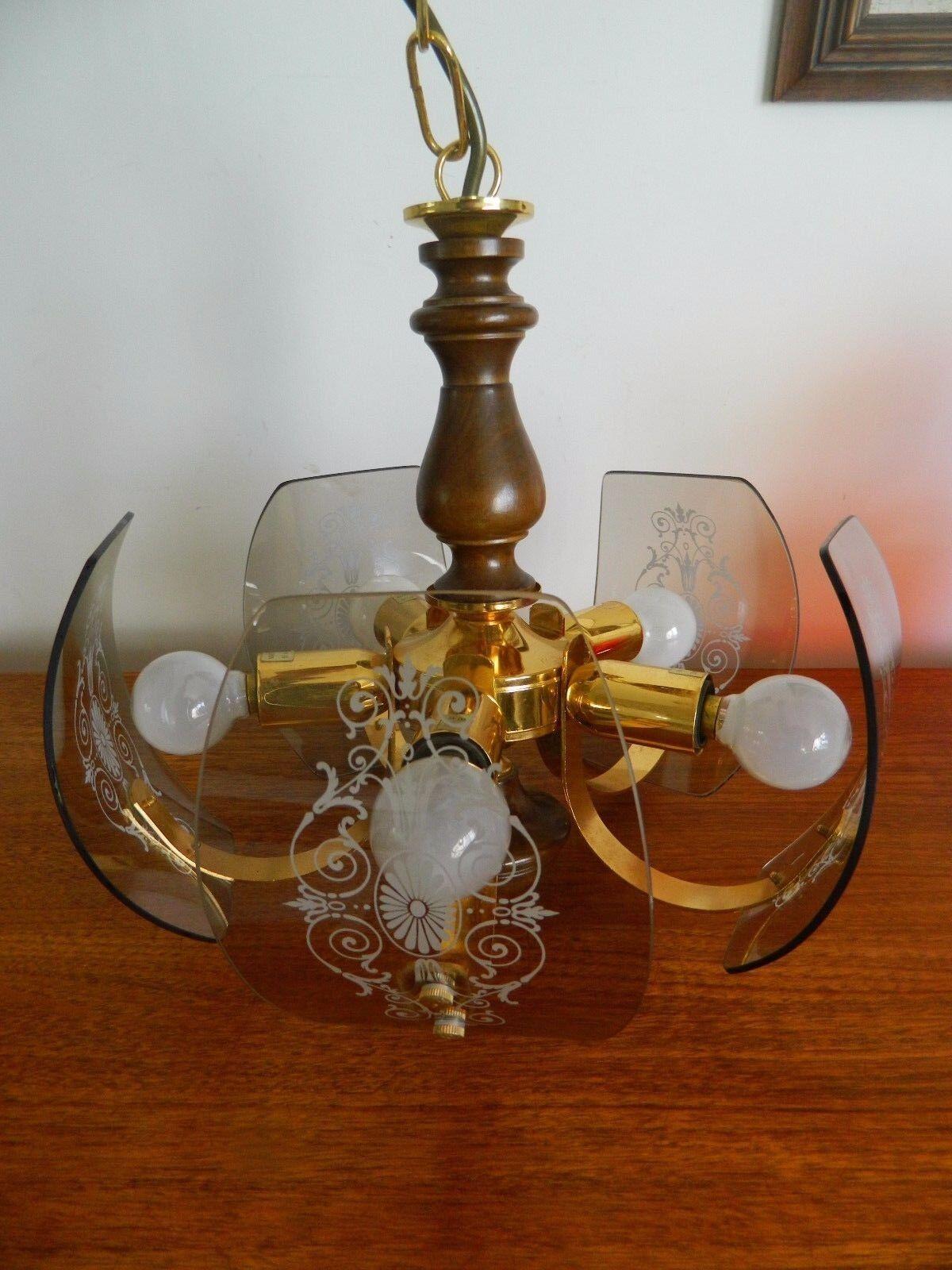 Stunning Italian Retro 20thc Brass Wood Ornate Design Ceiling Light Etched Glass