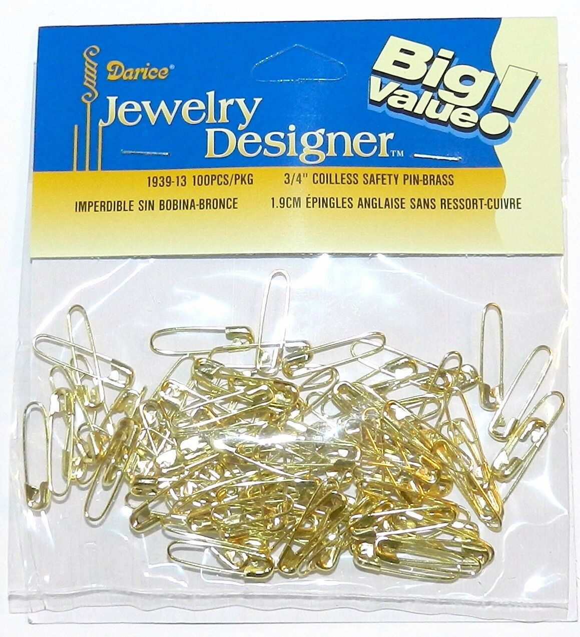 Darice Jewelry Designer 3//4 Inch Coil-Less Safety Pins 100PK Gold