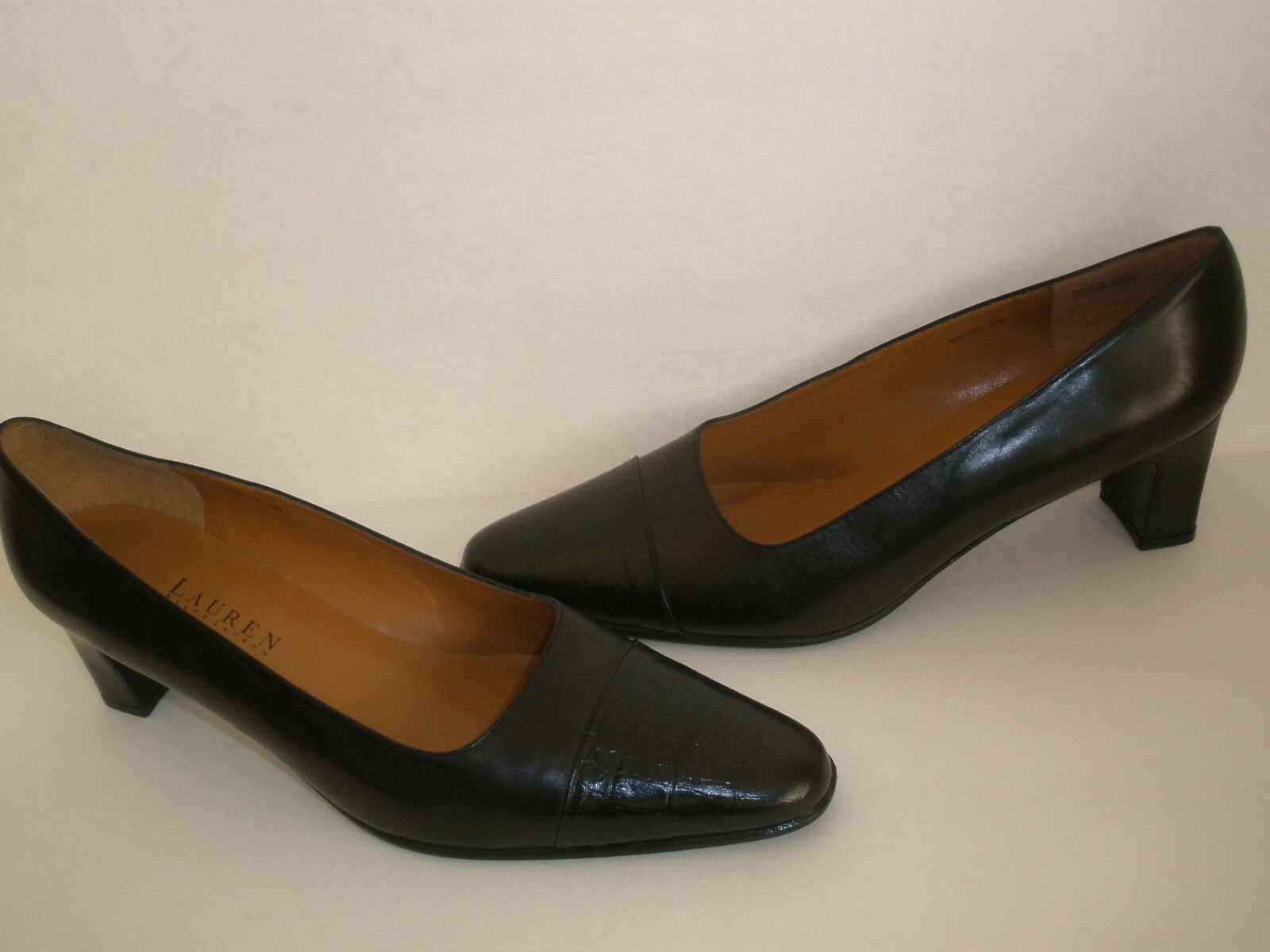 LAUREN RALPH LAUREN BLACK Leather Heels size US 11  NEW SALE HOT MADE IN SPAIN