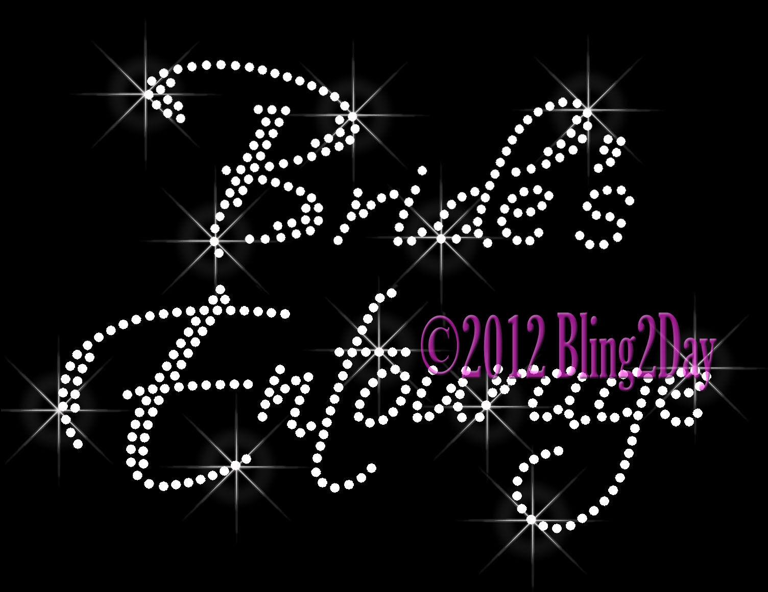 Bride's Entourage Iron On Rhinestone Transfer for Shirts Hot Fix Bling Bridal
