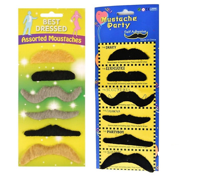 12 Self adhesive Assorted Fake Moustache Set Fancy Dress Party LOT UK SELLER