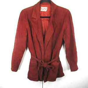 Alamor VTG 70's Open Front Blazer Jacket Suede Leather Red Women's 9 Medium