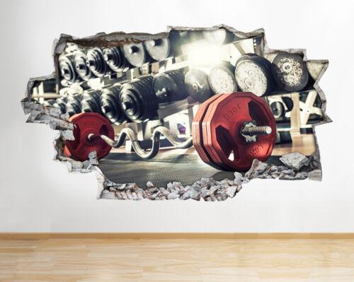 Autocollants muraux Gym Fitness Exercice Poids Entraînement Smashed Decal 3D Art