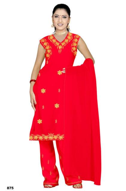 Salwar Kameez Set Karneval Sari Boho Indien Bollywood Rot in 4 Größen