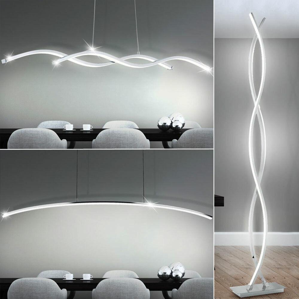 Design LED Decken Pendel Hänge Steh Stand Wellen Lampe ALU Chrom Wohn Zimmer