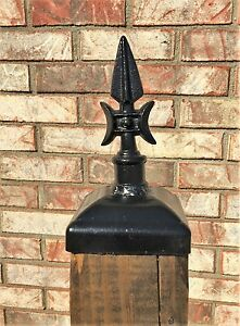 Cast Iron Gothic Spear Post Cap For 4x4 Wood Post Wrought
