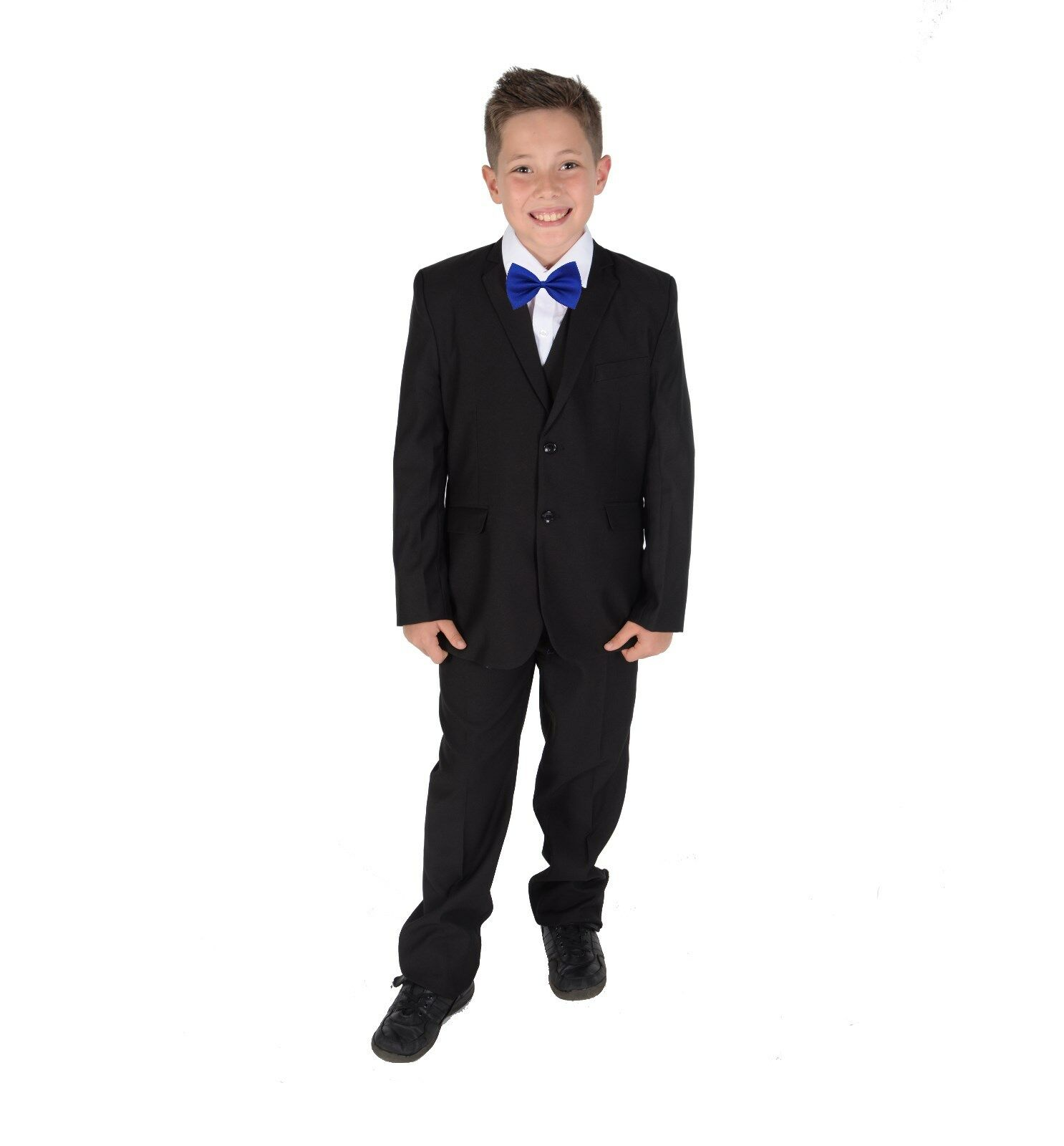 Boys 5 Piece Black Tuxedo Suit Bow Tie Wedding Page Boy Party Prom suit 2-12Year