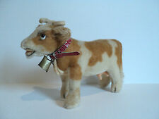 """ADORABLE VINTAGE 1950's-1960's STEIFF """"BESSIE"""" MOHAIR COW, RED COLLAR & BELL"""