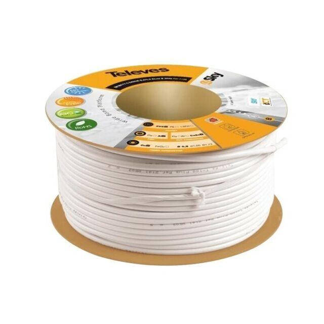 TELEVES Câble coaxial 16 VATC cuivre-aluminium Class A 3GHz blanc PVC