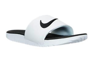 e4e2dea033c7cd 819352-100 Kids youth Nike Kawa Slide Sandals (GS PS) White Black