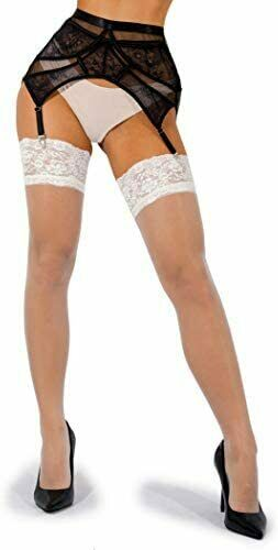 sofsy Lace Sheer Thigh-High Stockings//Pantyhose w//Hold-Up Silicone Made in Italy 15 or 20 Denier