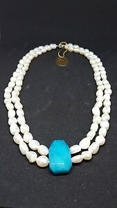 Freshwater-Pearl-Necklace-with-Blue-Chalcedony-Pendant-SALE-109-99