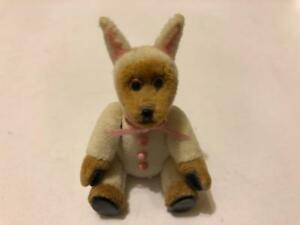 MINIATURE DOLLHOUSE ARTISAN C. DABBS TEDDY BEAR IN BUNNY SUIT JOINTED EASTER