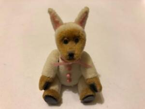 MINIATURE-DOLLHOUSE-ARTISAN-C-DABBS-TEDDY-BEAR-IN-BUNNY-SUIT-JOINTED-EASTER
