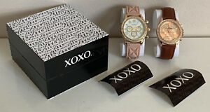 NEW-XOXO-BLUSH-PINK-SILICONE-STRAP-amp-BROWN-LEATHER-WATCH-DUO-SET-XO9243-SALE